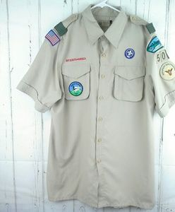 Boy Scouts of America Size Med Button Front Shirt